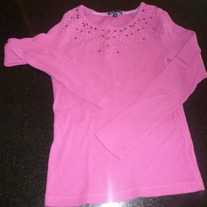 Long Sleeve Pink Shirt with Sequins-Gap Kids Size 10