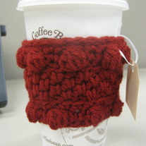 Red Bobble Coffee Cup Cozy