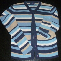 Blue/Tan/White Striped Cardigan-Limited Too Size XS 8