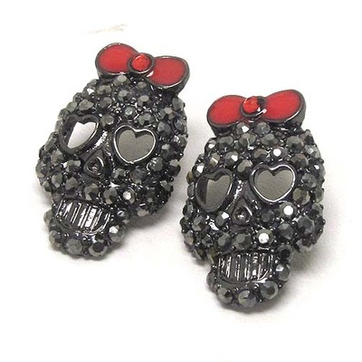 Gunmetal crystal skull earrings