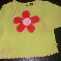 Lime Green Shirt W/Red/Pink Flower-Baby Gap Size 18-24 Months
