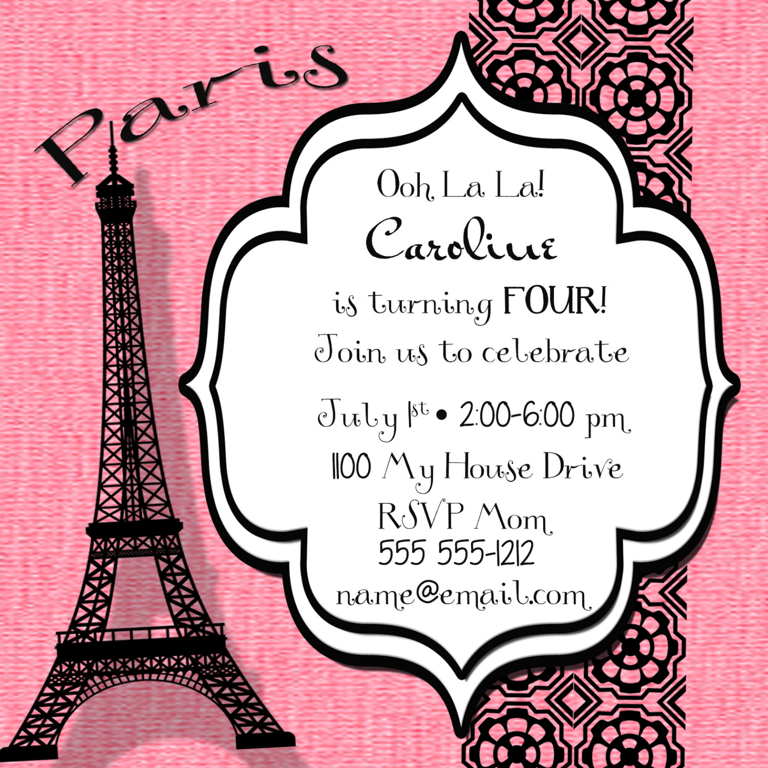 Paris Eiffel Tower Personalized Birthday Invitation Sided - Invitation in french to birthday party