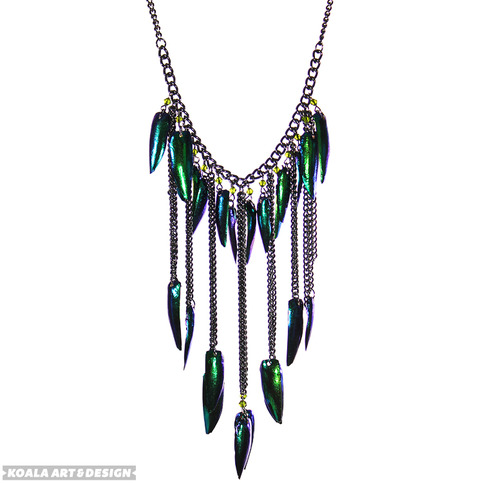 Jewel Beetle Wing Necklace