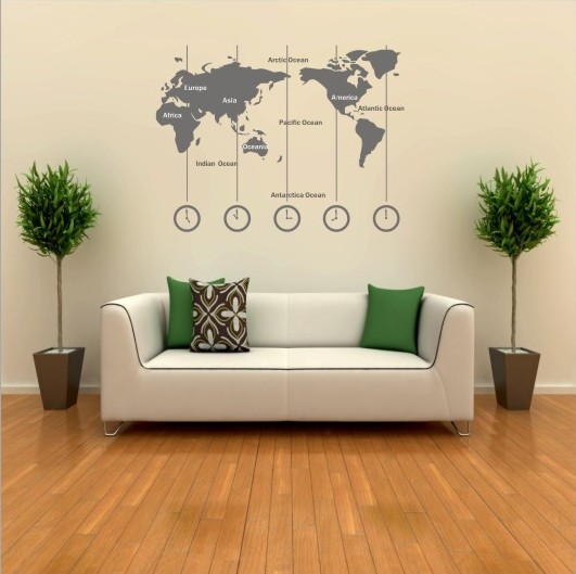 Removable Vinyl World Map Wall Decal Time Wall Art Clock