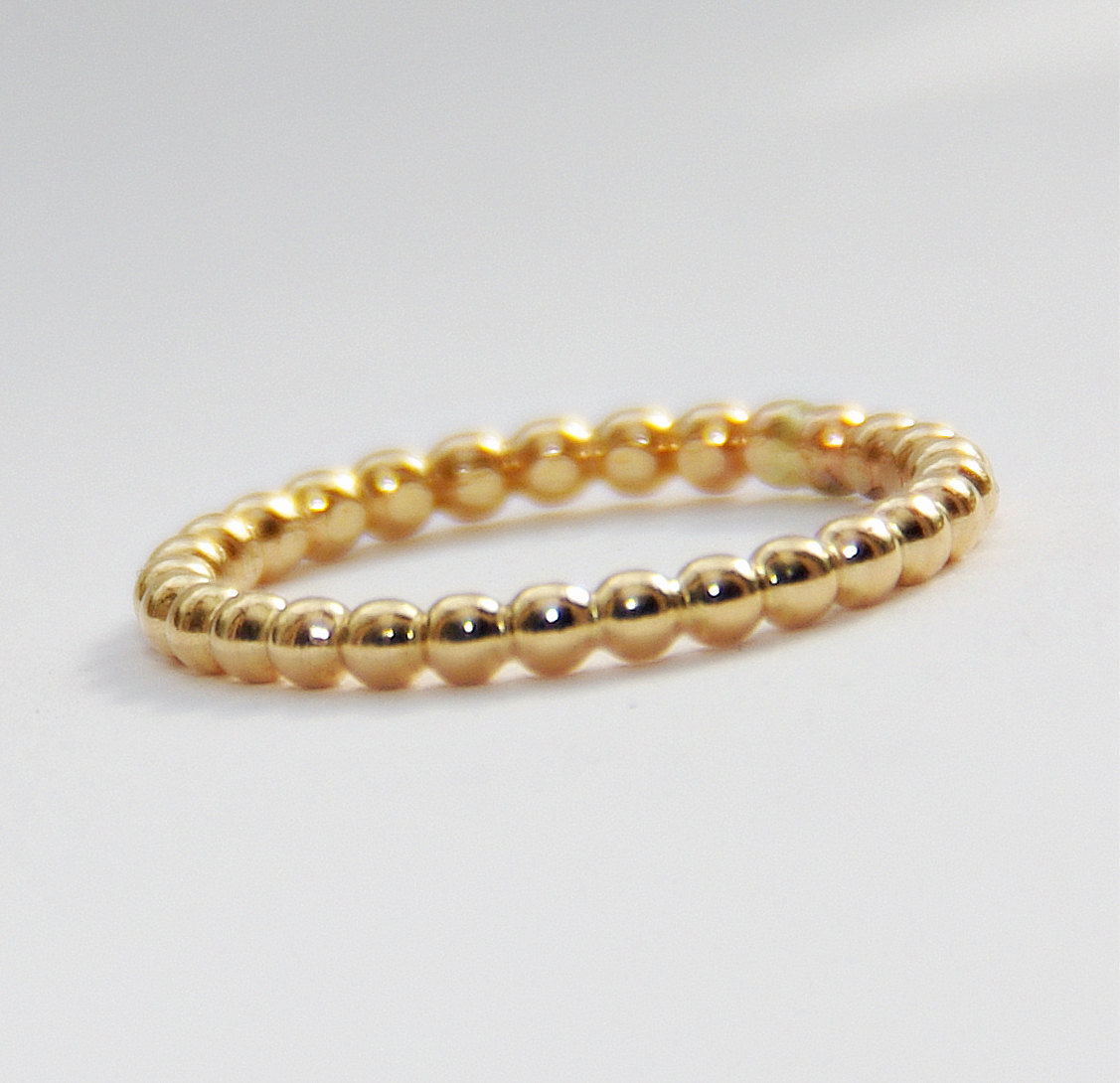 2mm Bold Yellow Gold Filled Beaded Ring Anniversary Ring