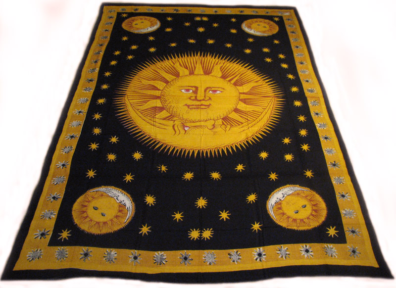 Celestial Sun And Moon Stars 100 Cotton Hippie Tapestry