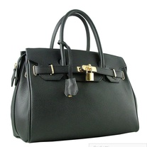 Italian Designer Leather Bag (Palmellato - Zipper) Black