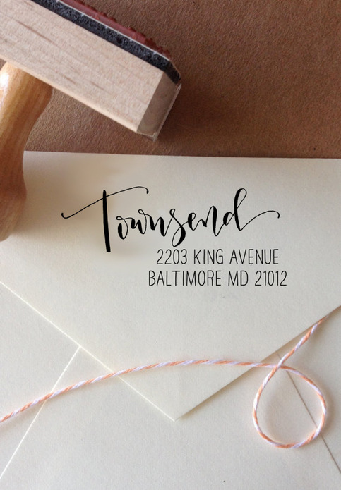 Calligraphy Return Address Stamp Mixed Calligraphy And