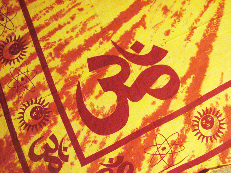 Om Aum Symbol Yoga Orange Tie Dye Hippie Indian Hindu Boho Tapestry