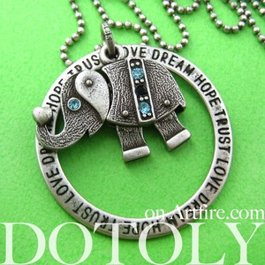 Elephant Robot Animal Hoop Round Pendant Necklace in Silver