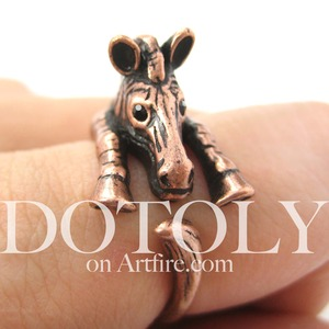 Miniature Zebra Animal Wrap Around Ring in MATTE Copper - Sizes 5 to 9
