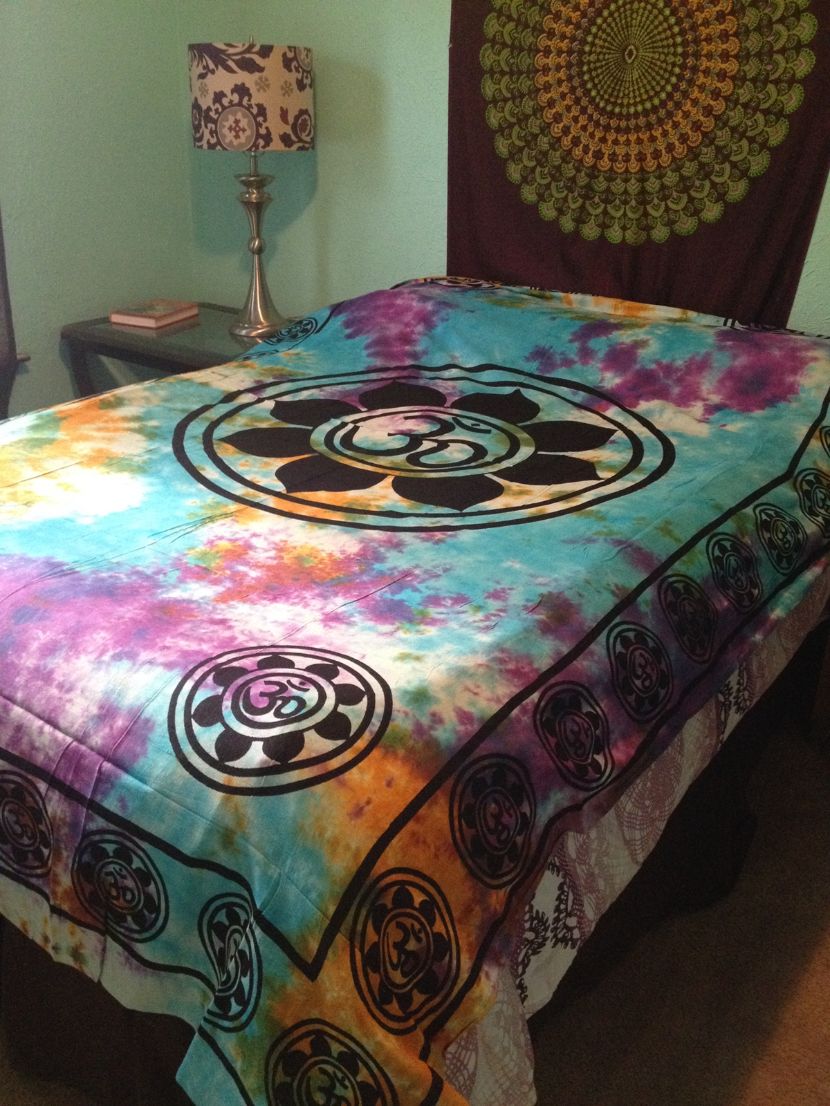 ... India Hippie Boho TIE DYE Wall TAPESTRY Bedding Bedspread 72