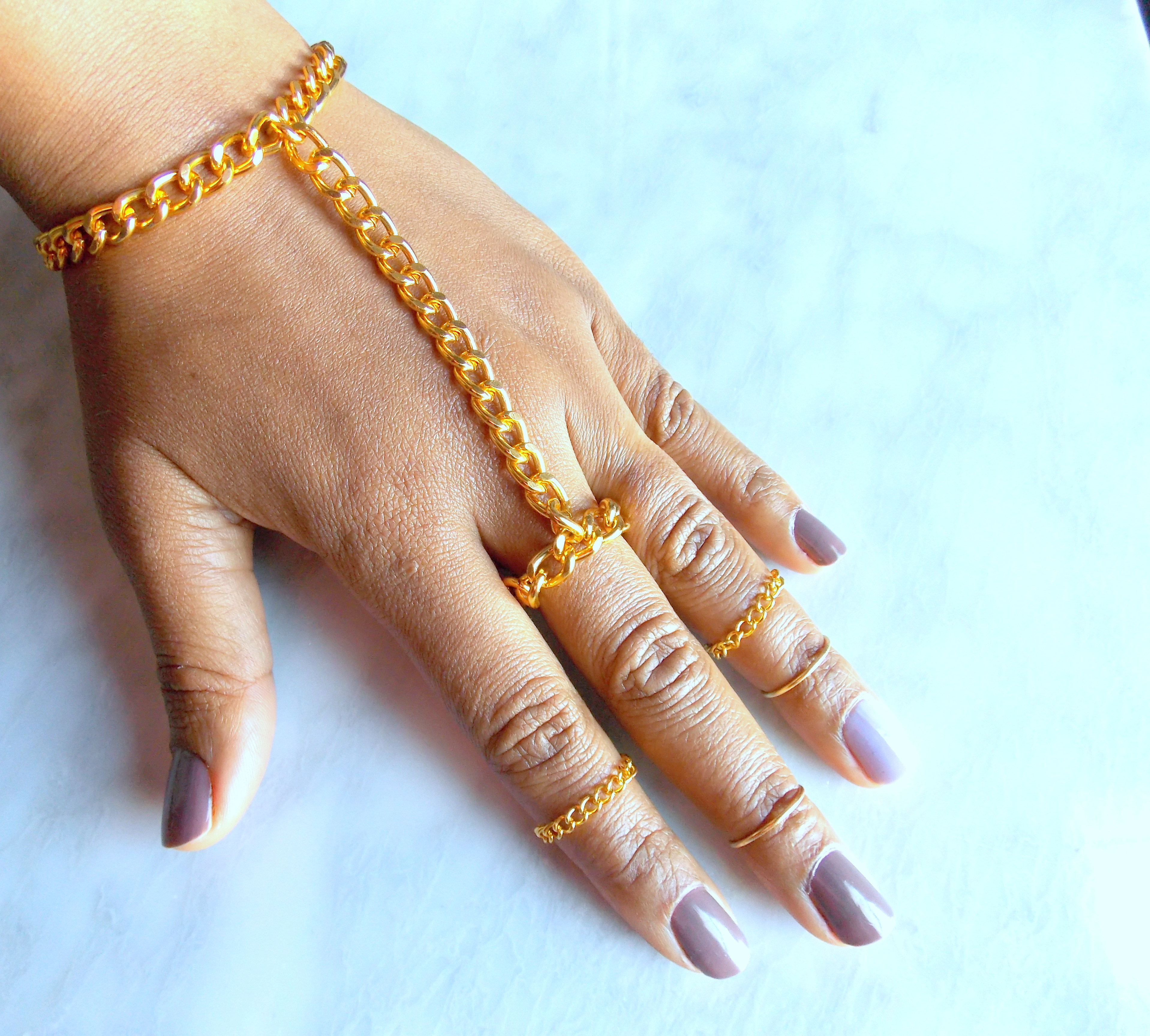 Chunky Hand Chain, Golden Ring Chain Hand Adornment, Attached Ring ...