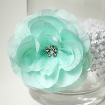 Mint flower clip on crochet headband