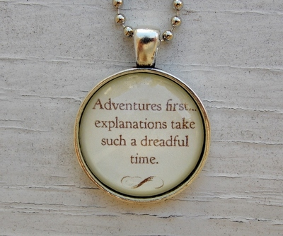 Alice In Wonderland Necklace. Adventures First. 18 Inch Chain.
