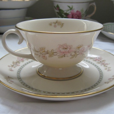 "Gorham ""camellia"" footed tea cup and saucer"