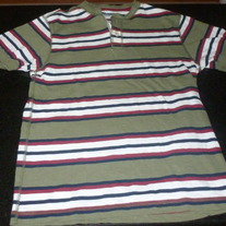 Green/Burgundy/Navy Stripe Shirt-Old Navy Size 10/12