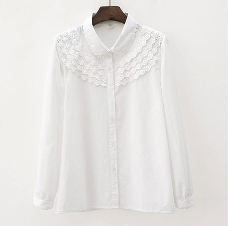 Lolita doll collar white women cotton blouse · Sweetbox Store ...