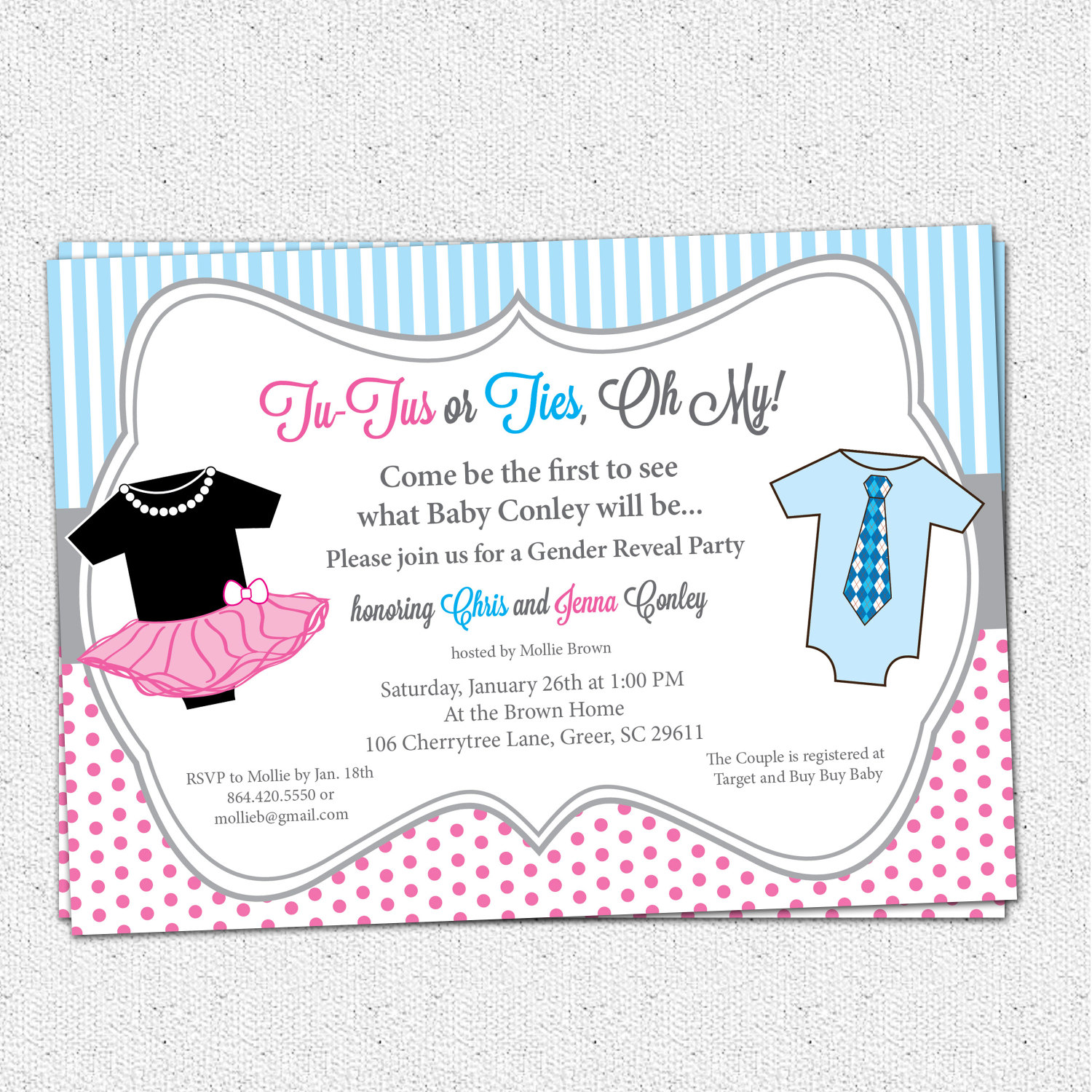 TuTus or Ties Gender Reveal Baby Shower Party Invitations Pink and