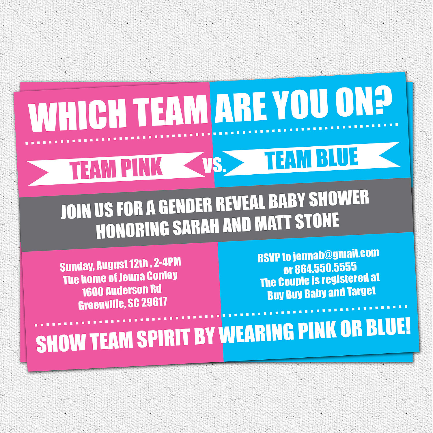 Gender Reveal Baby Shower Party Invitations Team Pink vs Team