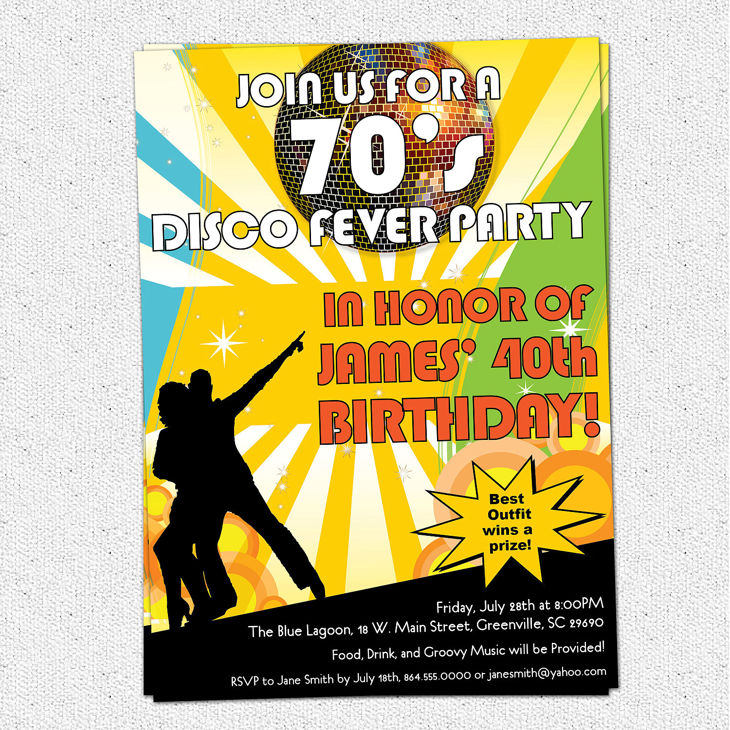 Disco Ball 70s Seventies Themed Party Invitations Birthday Dance
