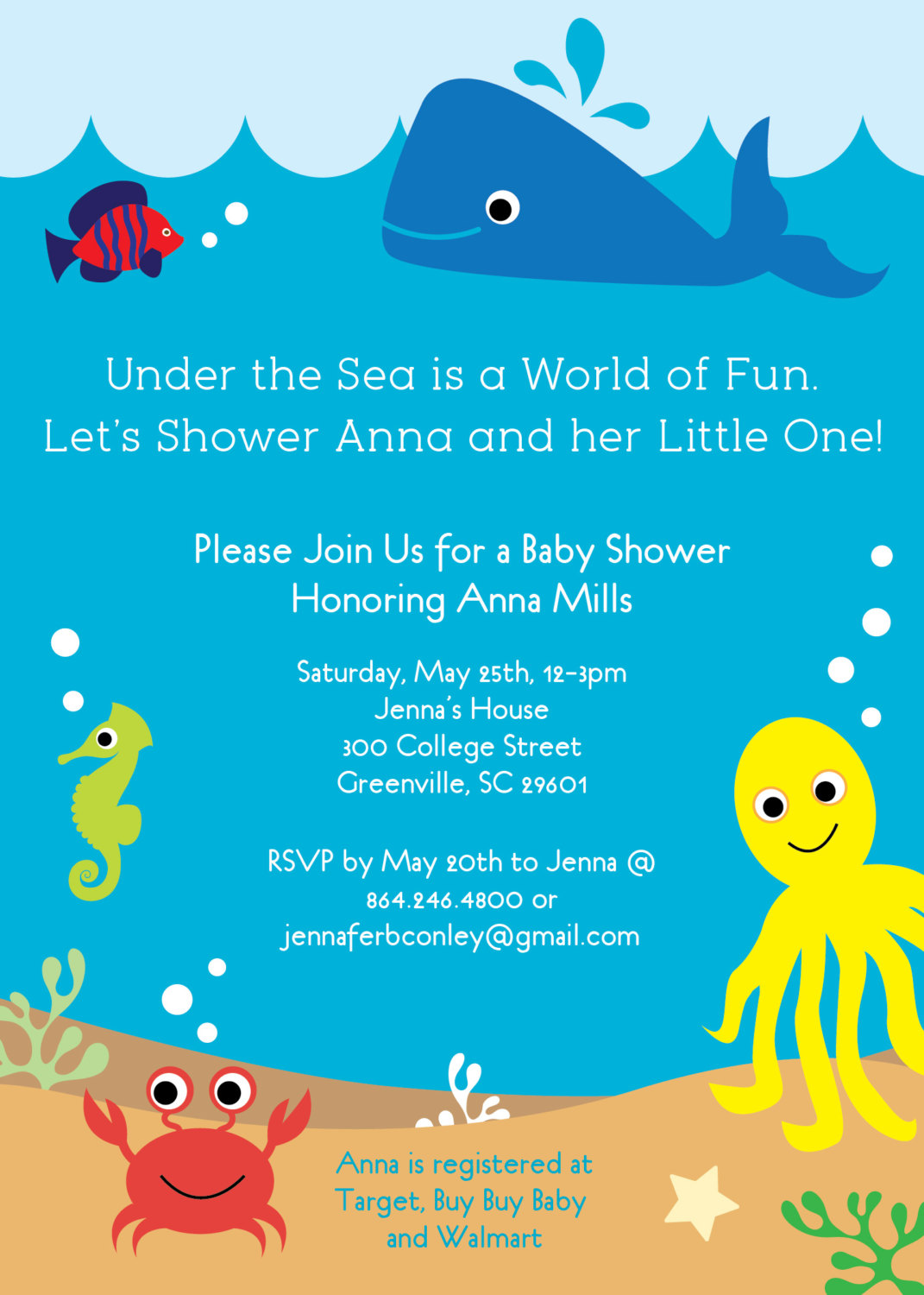 Under the Sea Baby Shower Invitations, Creatures Boy Girl Gender Neutral, Whale, Fish, Crab, SET ...