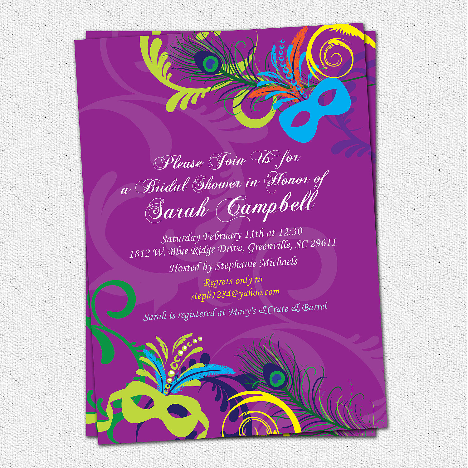 Bridal Shower Invitations MardiGras Mardi Gras Wedding Invitation