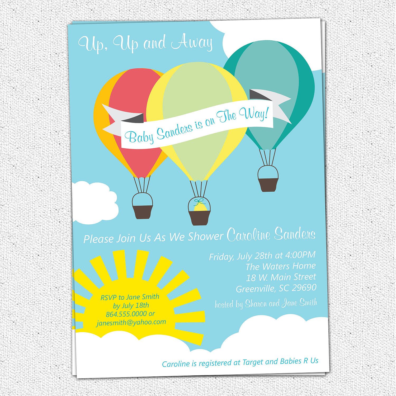 Hot Air Balloon Sunshine Baby Shower Invitations, Boy Or Girl Gender