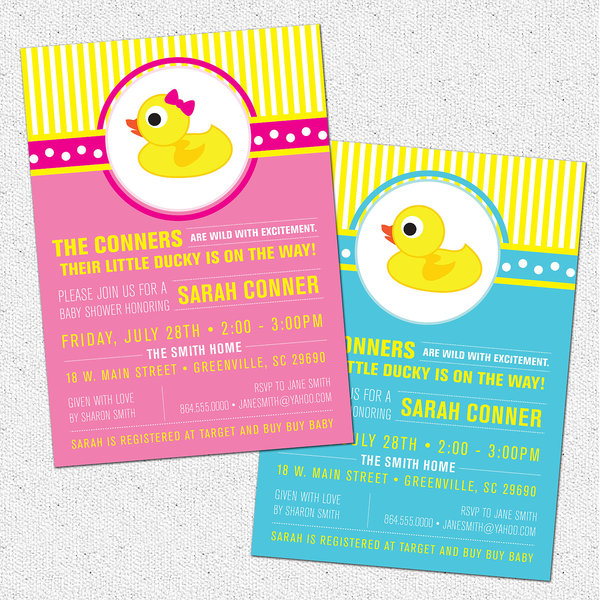 little rubber ducky baby shower invitations, duckie, modern, Baby shower invitations