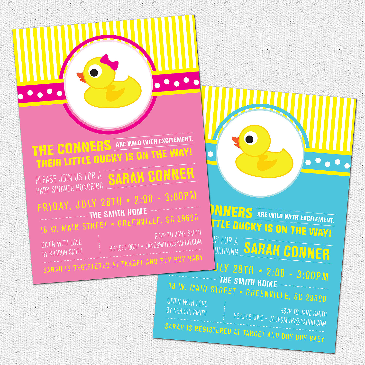 Little Rubber Ducky Baby Shower Invitations, Duckie, Modern, Preppy ...