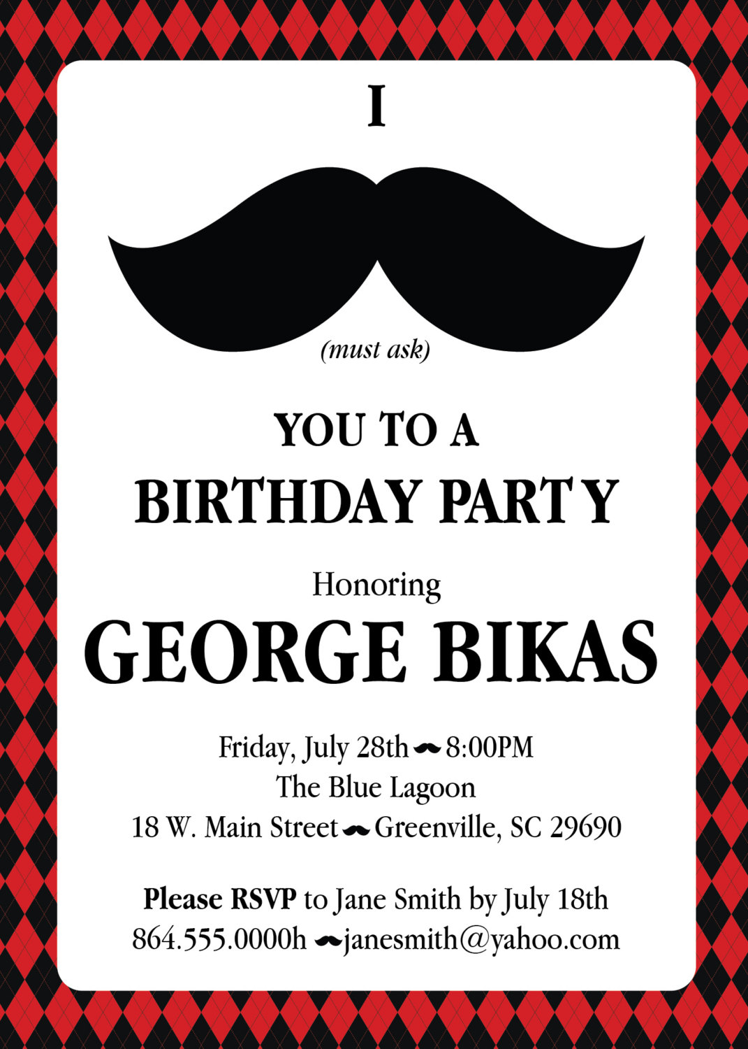Mustache Argyle Birthday Party Bash Invitations, Manly 30th 40th ...
