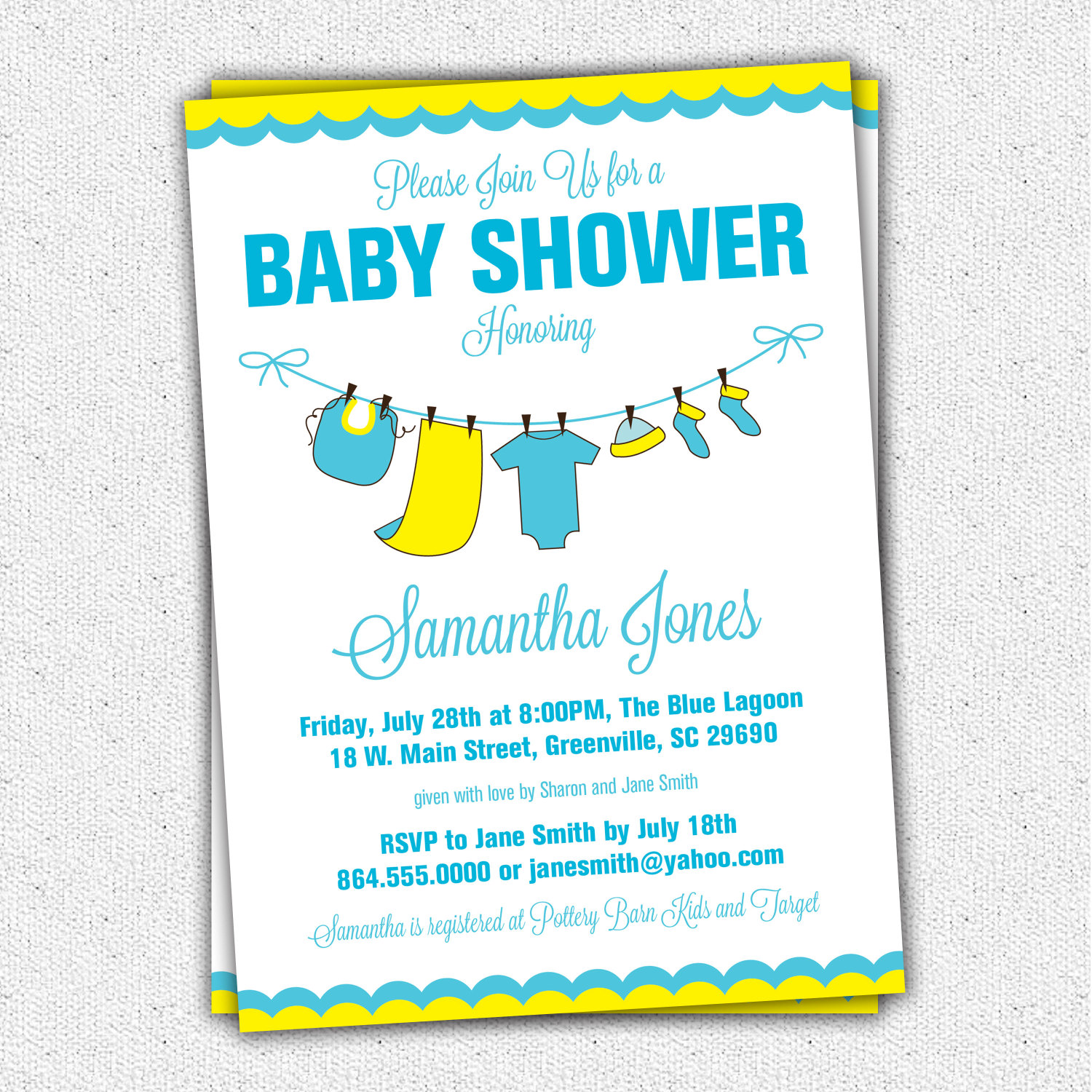 Baby Shower Invitations, Yellow Blue Baby Clothes, Clothesline, SET ...