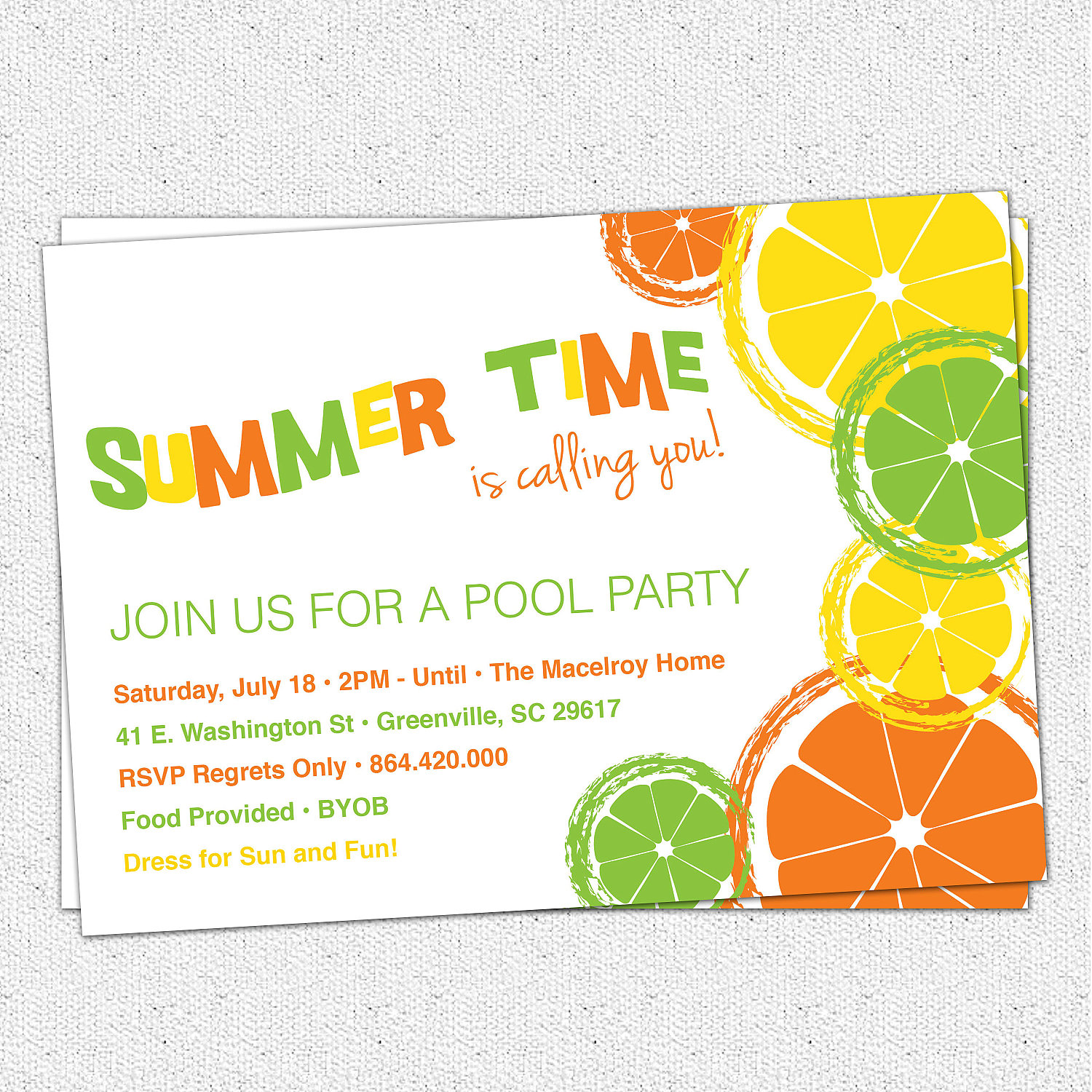 Citrus Invitations, Summer, Pool Party, Lemon, Lime, Orange ...