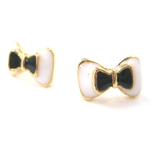 Small Bow Tie Ribbon Stud Earrings in Black White and Gold