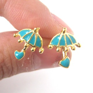 Small Cute Umbrella Rain Heart Stud Earrings in Blue on Gold