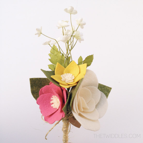 Ready to ship* Mini White Rose & Anemone Felt Flower Bouquet · The ...