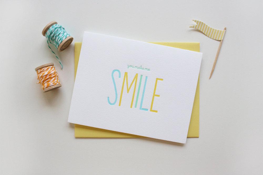 smile letterpress greeting card - Letterpress Greeting Cards