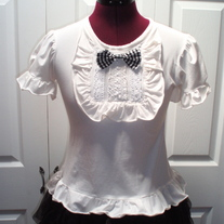 M White Lace Ruffle Lolita Cutsew Blouse Shirt Rockabilly Puff Sleeve Bow Top