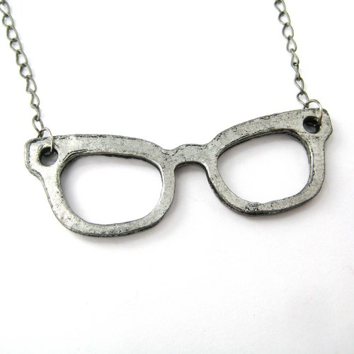 SALE - Glasses Spectacles Frame Geekery Necklace Charm in ...
