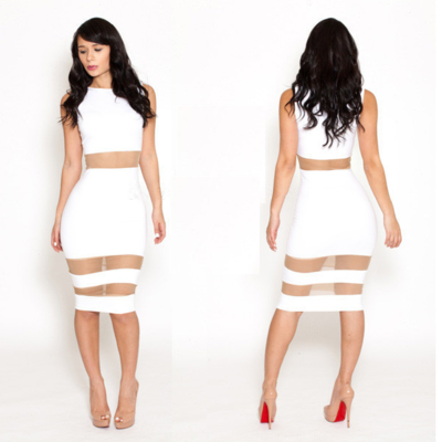 Mesh cut-out bandage dress