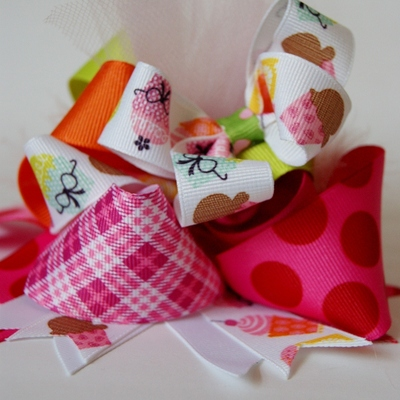 Bright cupcake funky loopy over the top hair bow