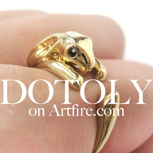 Miniature Bunny Rabbit Animal Wrap Ring in SHINY Gold Sizes 4 to 9