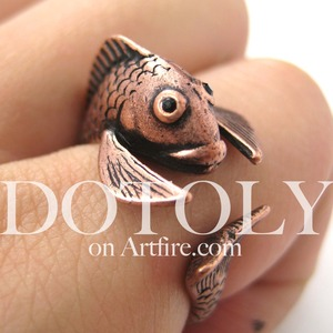 Miniature Fish Animal Wrap Ring in MATTE Copper Size 5 to 9 Available