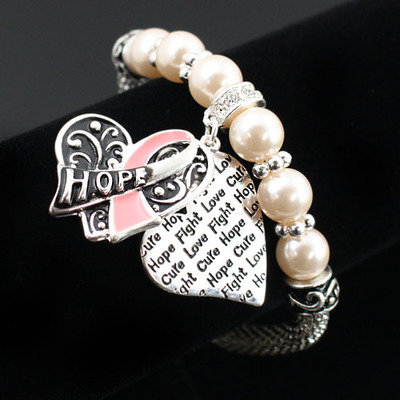 """hope"" pink ribbon bracelet-tde"