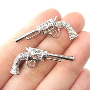 Realistic Gun Revolver Shaped Rhinestone Stud Earrings in Silver