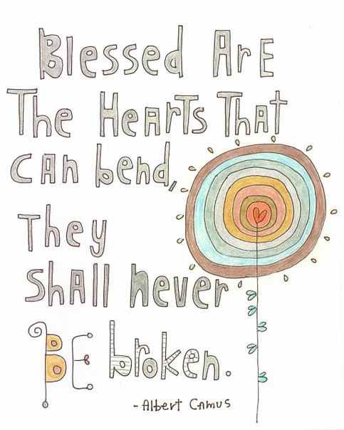 Hand Lettered Illustrated Quote Print - Blessed Are The Hearts...