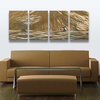 3 Trees 4 Panel   Abstract Metal Wall Art Contemporary Modern Decor ·  Inspiring Art Gallery · Online Store Powered By Storenvy