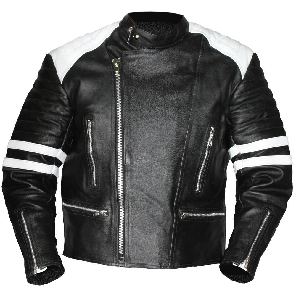Men Leather Jacket Old School White Black Rangoli Collection