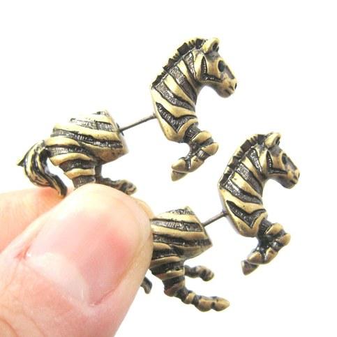 3d fake gauge realistic zebra shaped animal stud earrings in bronze dotoly animal jewelry. Black Bedroom Furniture Sets. Home Design Ideas