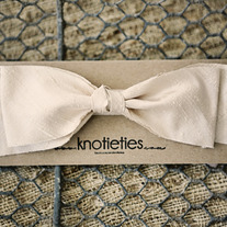 big silk knotiebow headband - cameo cream